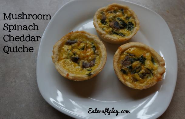 Mushroom Spinach Cheddar Quiche
